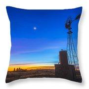Crescent Moon Beside Mars Throw Pillow