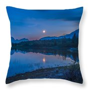 Crescent Moon Over Middle Lake In Bow Throw Pillow