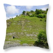 Cressbrook Dale Opposite To Tansley Dale Throw Pillow