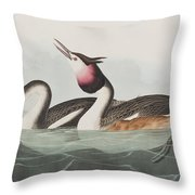 Crested Grebe Throw Pillow