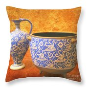 Crete Blue And Gold Jug And Bowl Throw Pillow