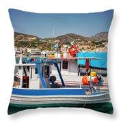 Crete Fishing Boats Throw Pillow