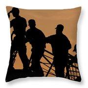 Crewmen Salute The American Flag Throw Pillow by Stocktrek Images