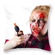 Criminal Zombie Pointing Revolver Throw Pillow