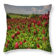 Crimson Clover Patch Throw Pillow