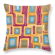 Crimson Gold And Squares  Throw Pillow