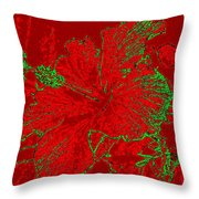 Crimson Hibiscus Throw Pillow