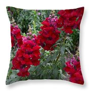 Crimson Snapdragons Throw Pillow