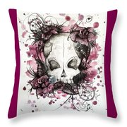 Crimson Skull Throw Pillow