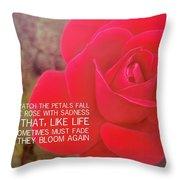Crimson Velvet Quote Throw Pillow