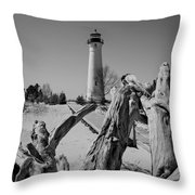 Crisp Point Lighthouse With Driftwood Throw Pillow