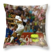 Cristiano Ronaldo Heads The Ball During The Spanish League Footb Throw Pillow