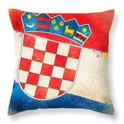 Croatia Flag Throw Pillow by Setsiri Silapasuwanchai