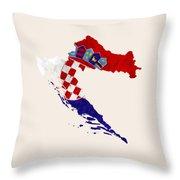 Croatia Map Art With Flag Design Throw Pillow