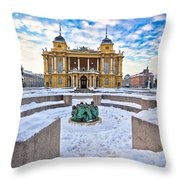 Croatian National Theater In Zagreb Winter View Throw Pillow