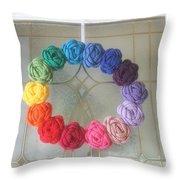 Crochet Rainbow Wreath Throw Pillow