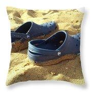 Crocs Shoes On Sandy Point Beach Throw Pillow