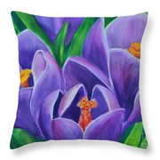 Crocus Flowers Throw Pillow