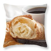 Croissants And Coffee Throw Pillow