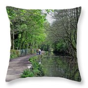 Cromford Canal - Tree Lined Walk Throw Pillow