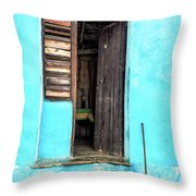 Crooked Blue Throw Pillow