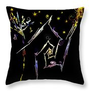 Crooked Little Cottage In The Woods Throw Pillow