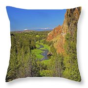 Crooked River And Mt Hood Oregon Throw Pillow