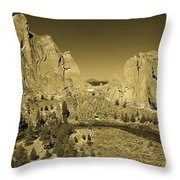Crooked River At Smith Rock State Park Sepia Throw Pillow