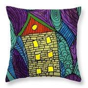 Crooked Yellow Brick House Throw Pillow