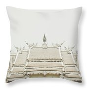 Crop Of A Exquisite And Magnificent Roof Of White Temple Aka Wat Rong Khun In Thailand Throw Pillow