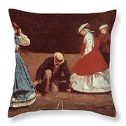 Croquet Scene Throw Pillow