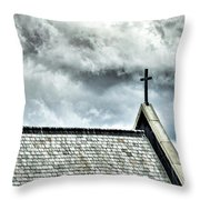 Cross Against An Angry Sky Throw Pillow