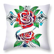 Cross And Roses Tattoo Throw Pillow