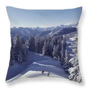 Cross-country Skiing In Aspen, Colorado Throw Pillow