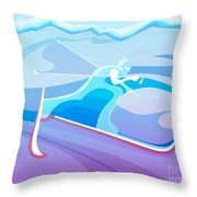 Cross County Skier Abstract Throw Pillow