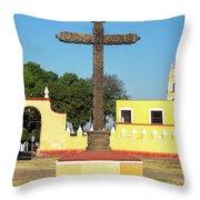 Cross In Cholula, Mexico Throw Pillow