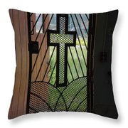 Cross On Church Door Open To Prison Yard Fence With Razor Wire Throw Pillow