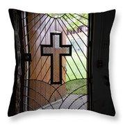 Cross On Church Door Open To Prison Yard Throw Pillow