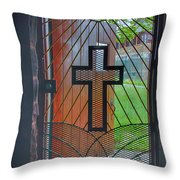 Cross On Church Door Open To Prison Yard With Light Throw Pillow