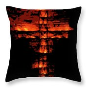 Cross On Fire Throw Pillow