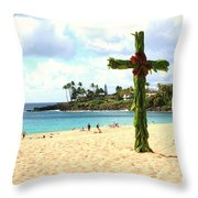 Cross In The Sand Throw Pillow