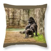 Cross River Pregnant Gorilla And Children Throw Pillow
