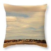 Cross Road In New Mexico Throw Pillow