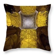Cross Shaped Nave Ceiling With Pillars And Stained Glass Windows Throw Pillow