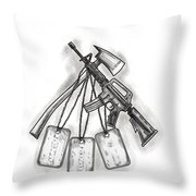 Crossed Fire Ax And M4 Rifle Dog Tags Tattoo Throw Pillow