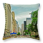 Crossing Chicago's South Michigan Avenue Throw Pillow