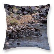 Crossing The Mara River Throw Pillow