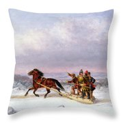 Crossing The Saint Lawrence From Levis To Quebec On A Sleigh Throw Pillow by Cornelius Krieghoff