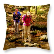 People Series - Crossing The Stream Throw Pillow