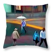 Crossing The Street Throw Pillow